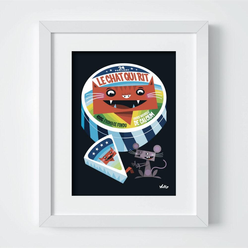 Carte postale Le Chat Qui Rit avec cadre