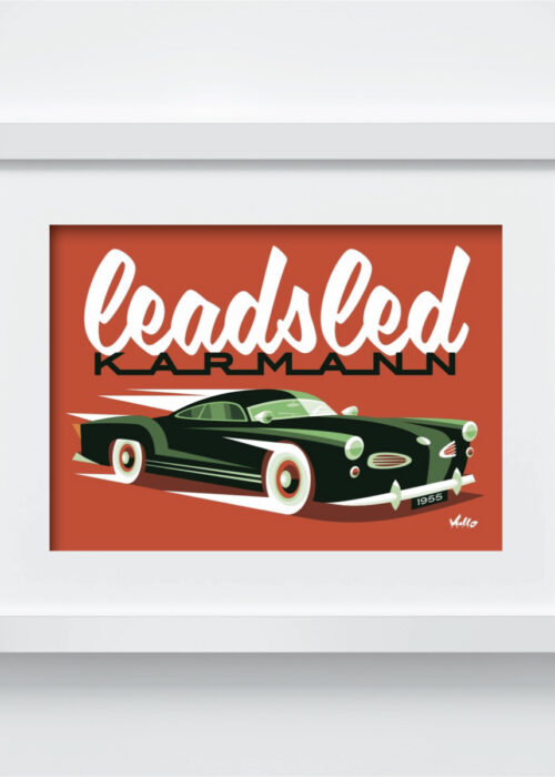 Carte postale Leadsled Karmann avec cadre