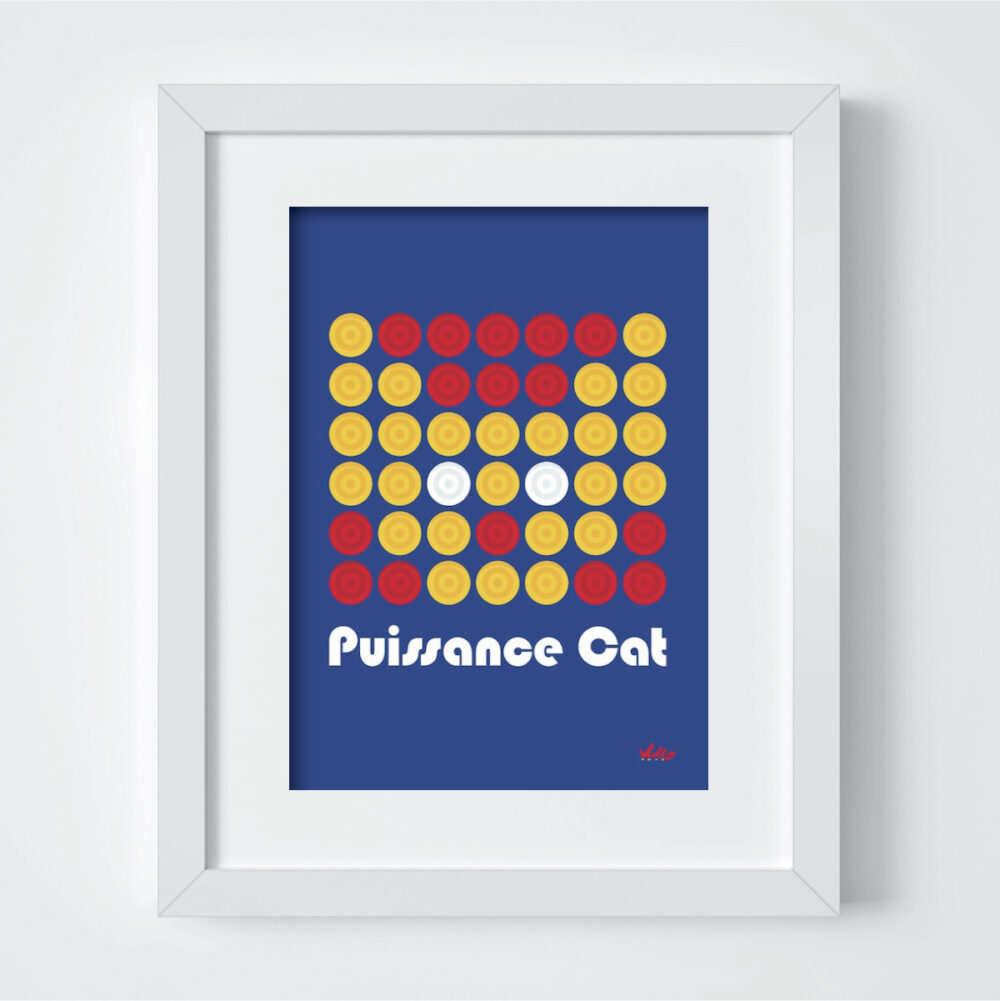 Carte postale Puissance Cat avec cadre