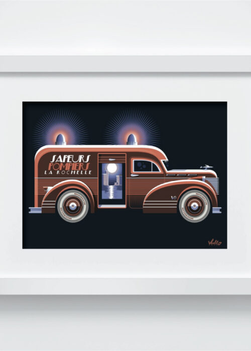Carte postale Sapeurs Pompiers La Rochelle avec cadre