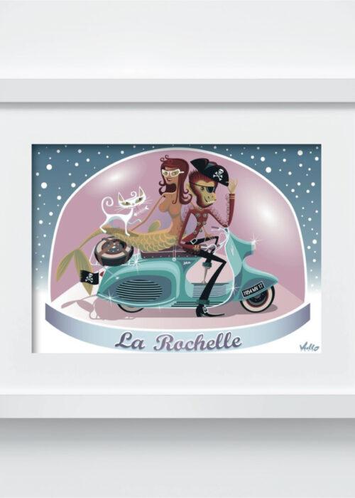 Carte postale Souvenir La Rochelle avec cadre