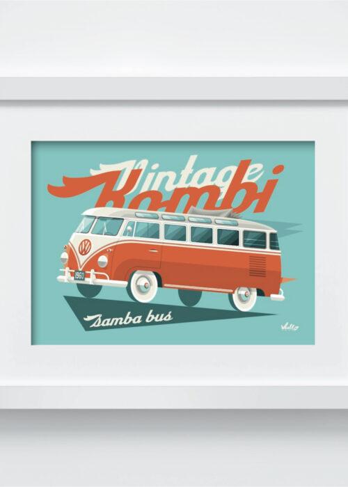 Carte postale Split Window Bus avec cadre