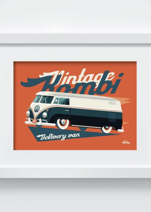 Carte postale Split Window Van avec cadre