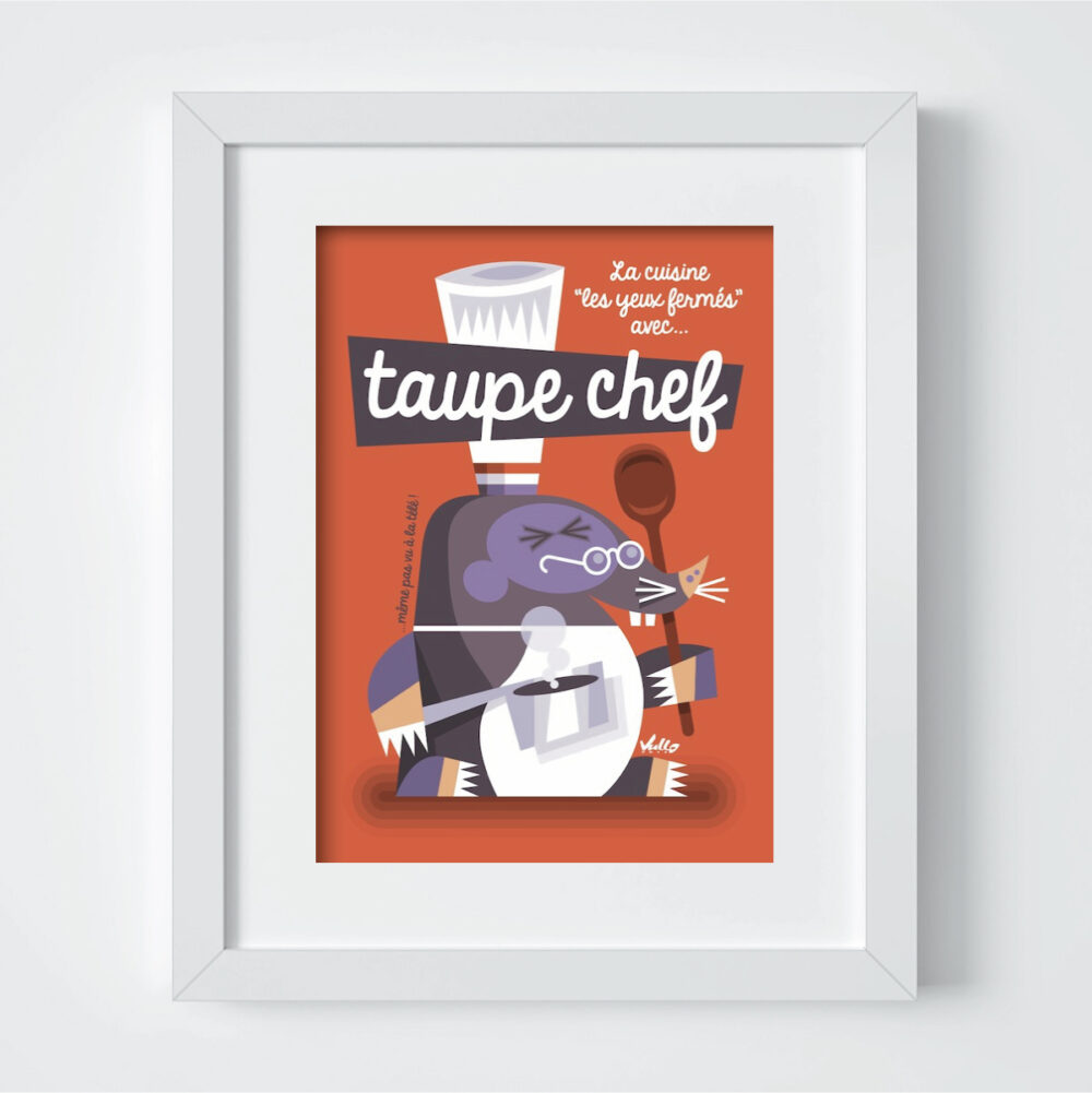 Taupe Chef postcard with frame