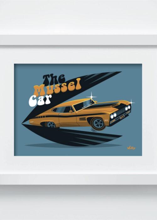 Carte postale The Mussel Car avec cadre