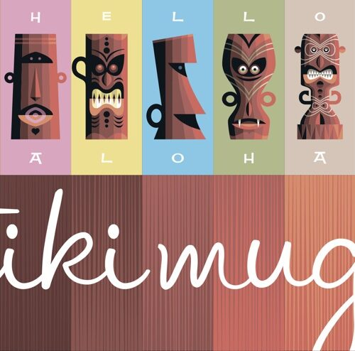 Tiki Mugs postcard