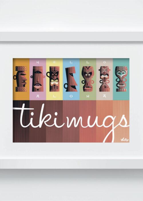 carte postale tiki mugs avec cadre
