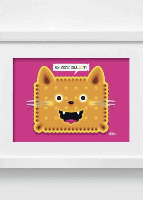Carte postale Un Petit Chat Lu avec cadre