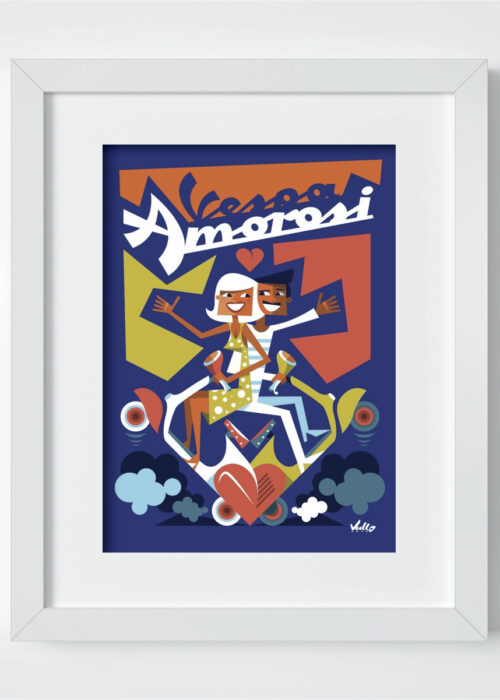 Vespa Amorosi postcard with frame