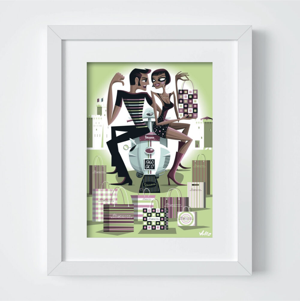 carte postale vespa shopping avec cadre