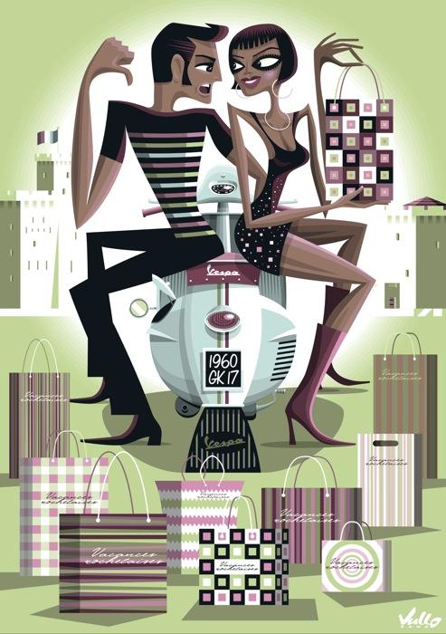 carte postale vespa shopping