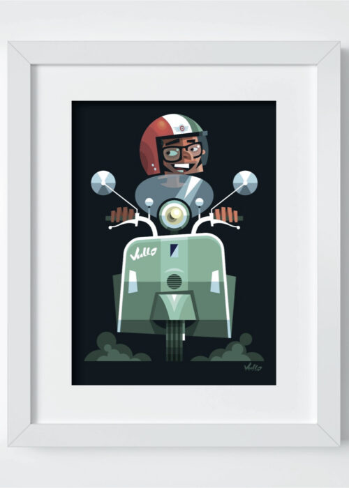 Vespa Vullo postcard with frame