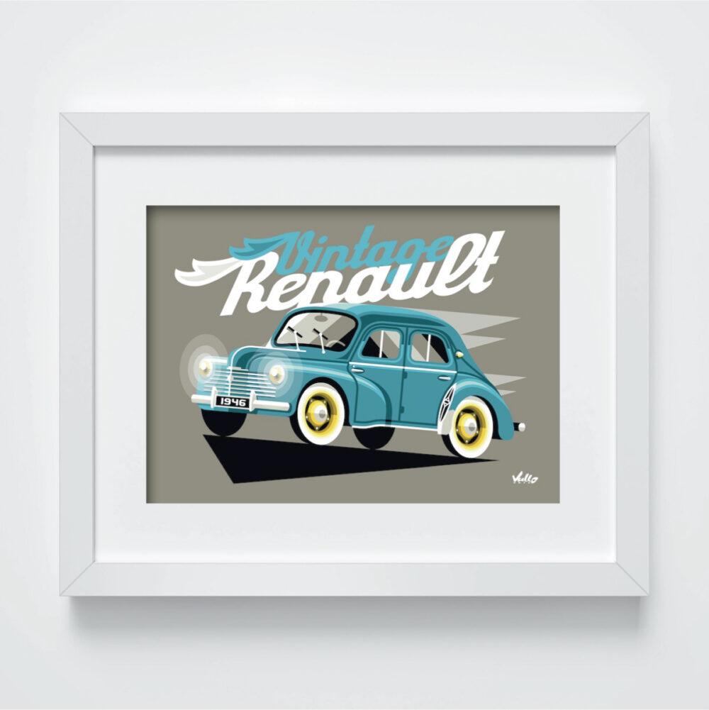 Carte postale Vintage 4CV Bleue avec cadre