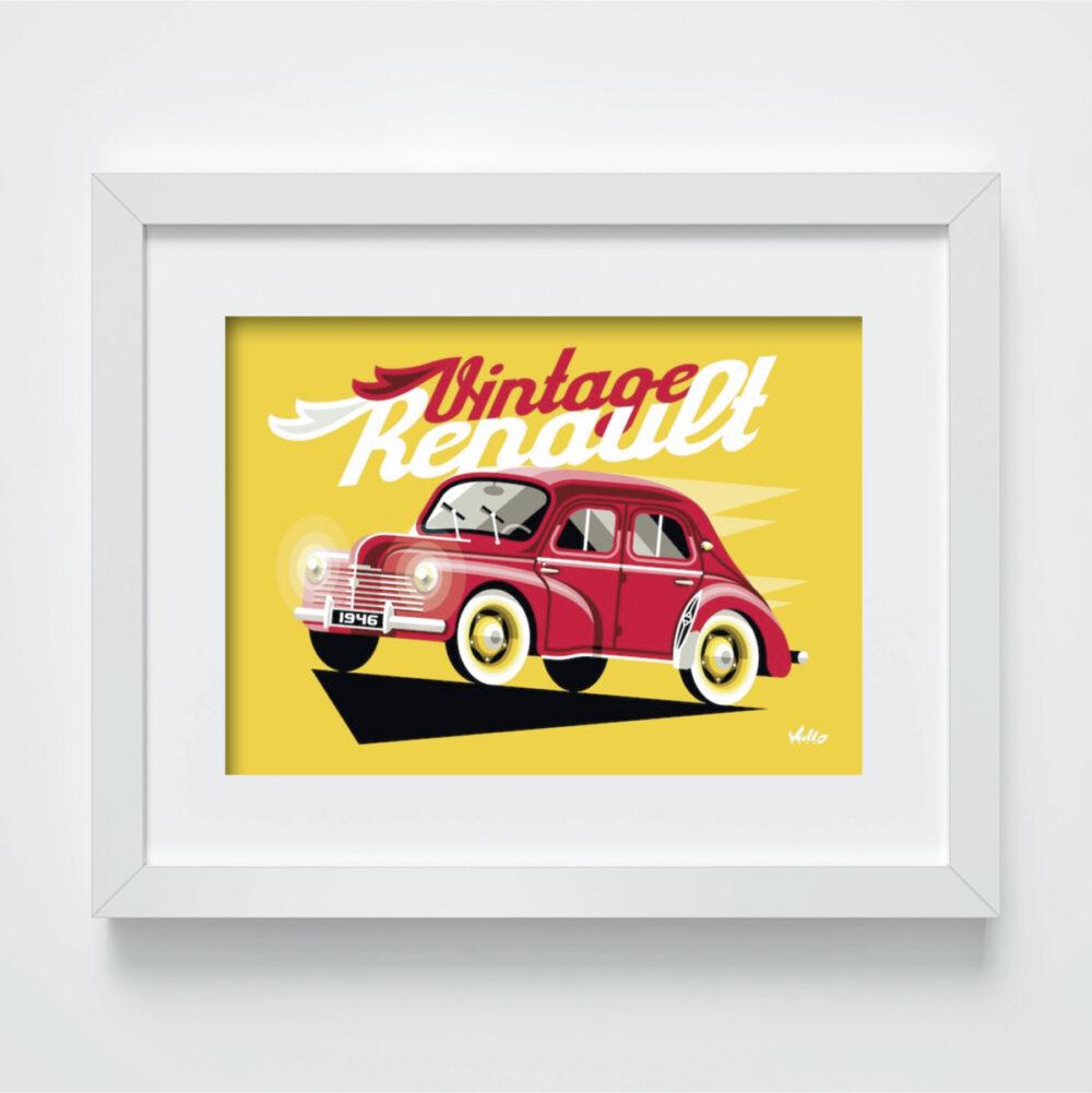 Carte postale Vintage 4CV Rouge avec cadre