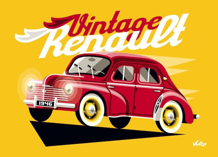 Carte postale Vintage 4CV Rouge