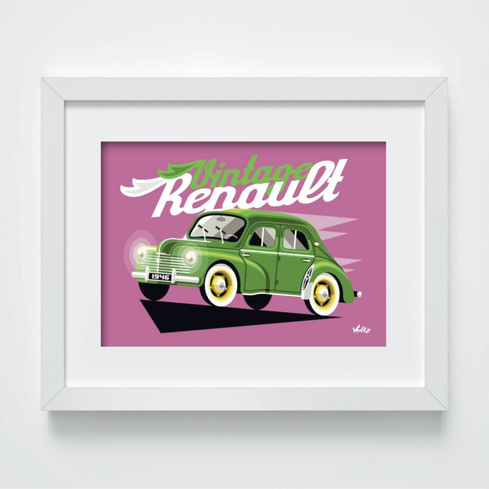 Carte postale Vintage 4CV Verte avec cadre