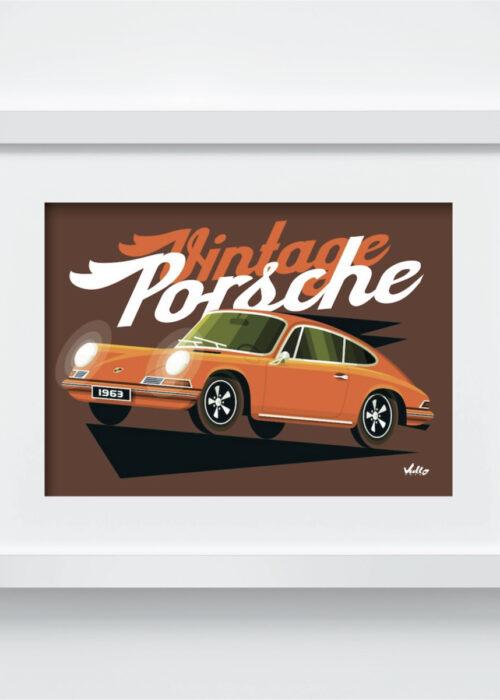 Carte postale Vintage 911 Orange avec cadre