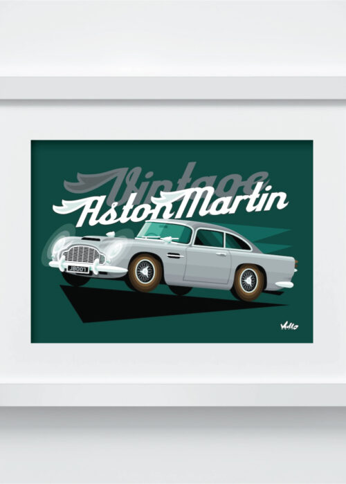 Carte postale Vintage Aston Martin avec cadre