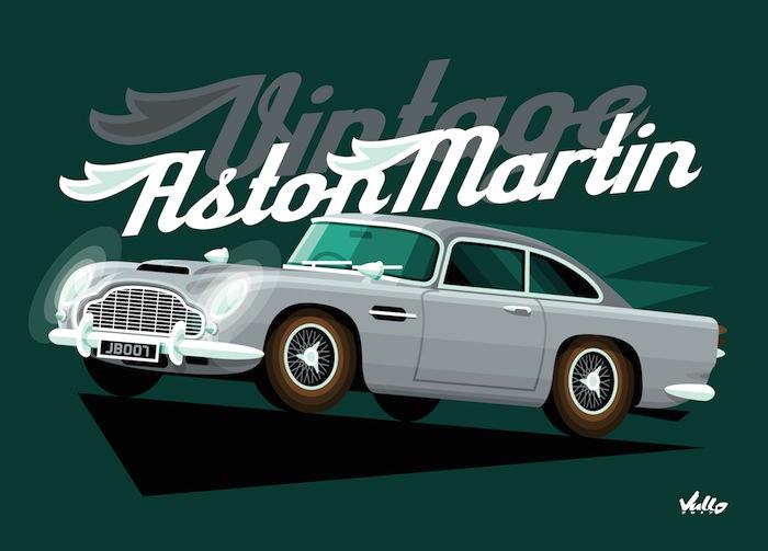 Carte postale Vintage Aston Martin