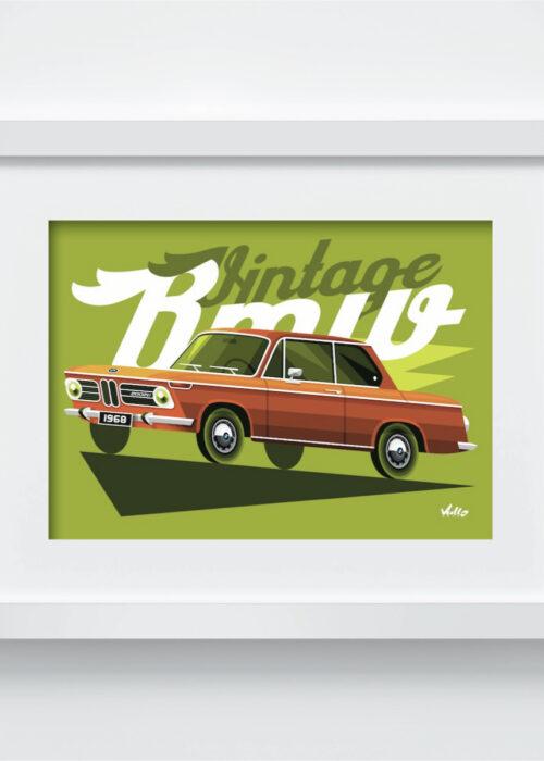 Carte postale Vintage BMW avec cadre