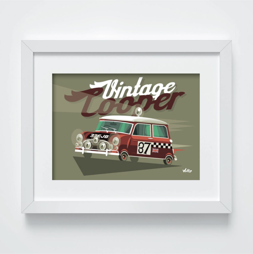 Carte postale Vintage Cooper avec cadre