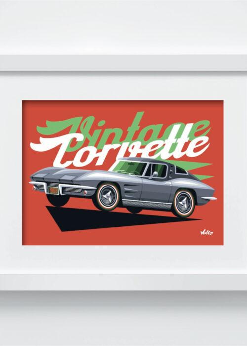 Carte postale Vintage Corvette avec cadre