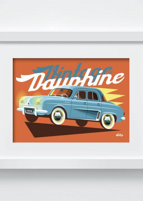 Carte postale Vintage Dauphine avec cadre