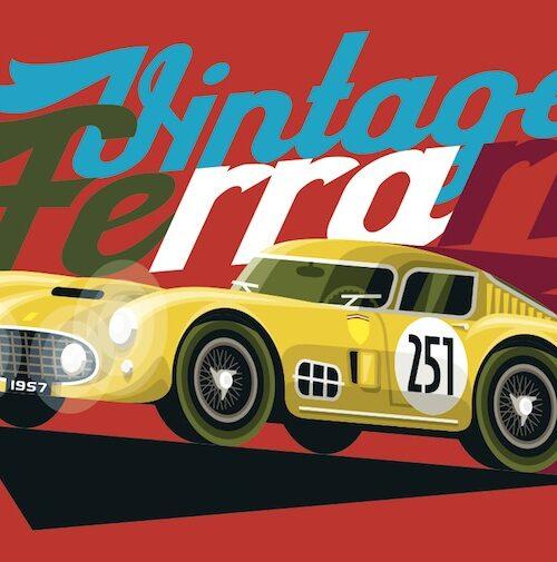 Carte postale Vintage Ferrari Jaune