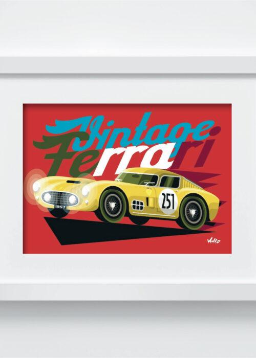 Carte postale Vintage Ferrari Jaune avec cadre