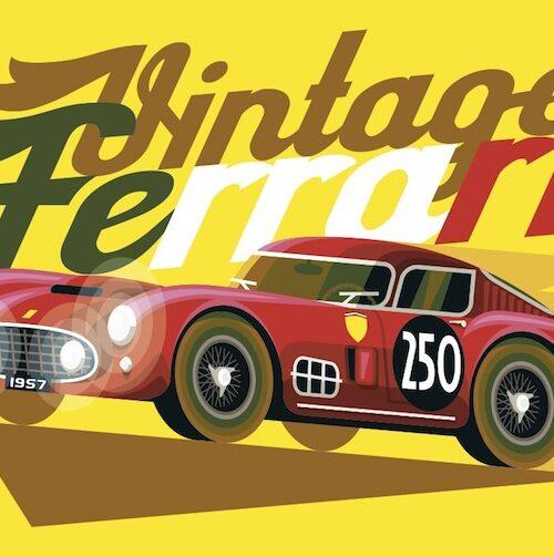 Carte postale Vintage Ferrari Rouge