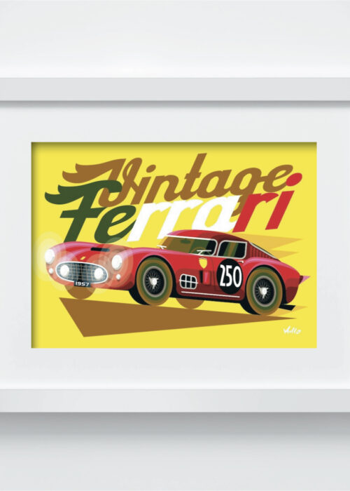 Carte postale Vintage Ferrari Rouge avec cadre