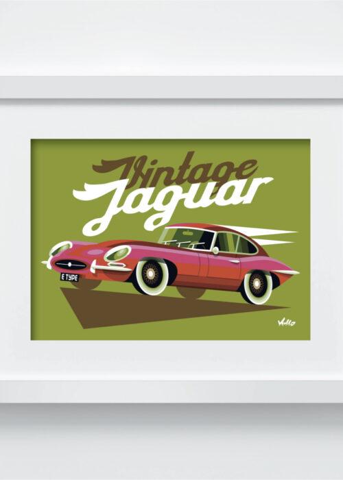 Carte postale Vintage Jaguar avec cadre