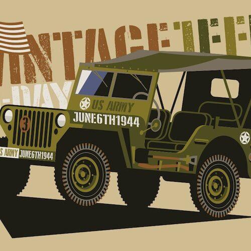 Carte postale Vintage Jeep