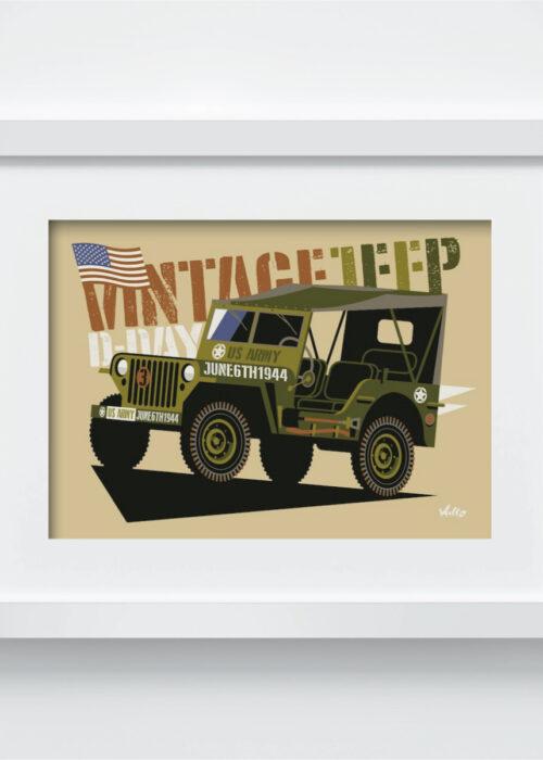 Carte postale Vintage Jeep avec cadre