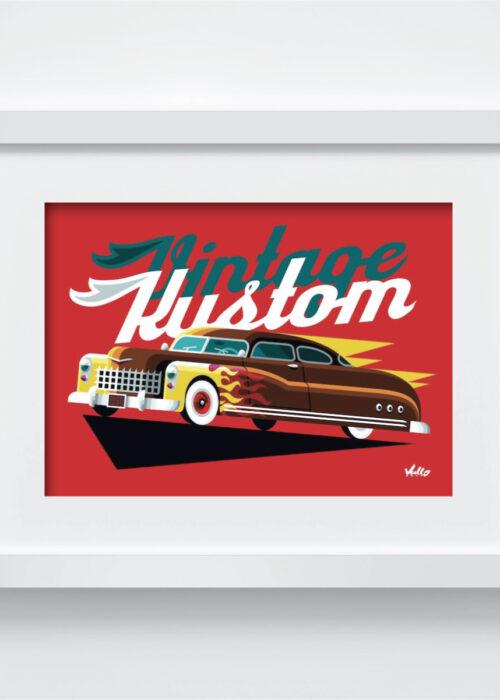 Carte postale Vintage Kustom avec cadre