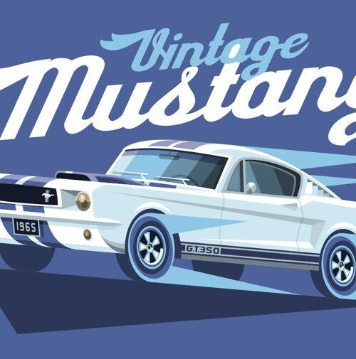 Carte postale Vintage Mustang