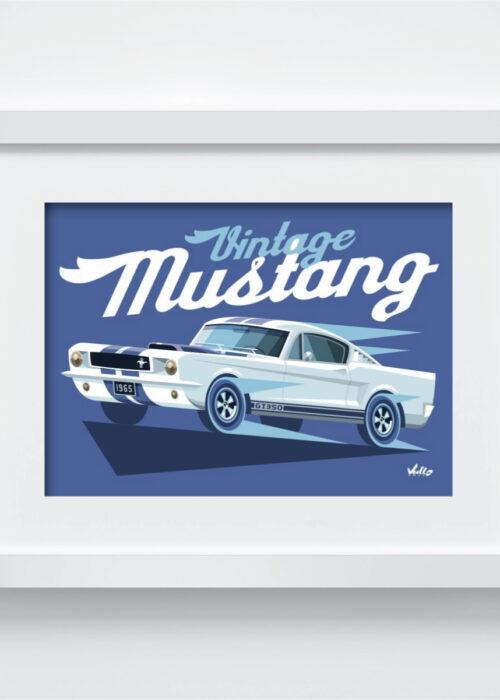 Carte postale Vintage Mustang avec cadre