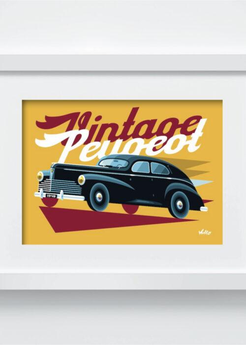 Carte postale Vintage Peugeot avec cadre