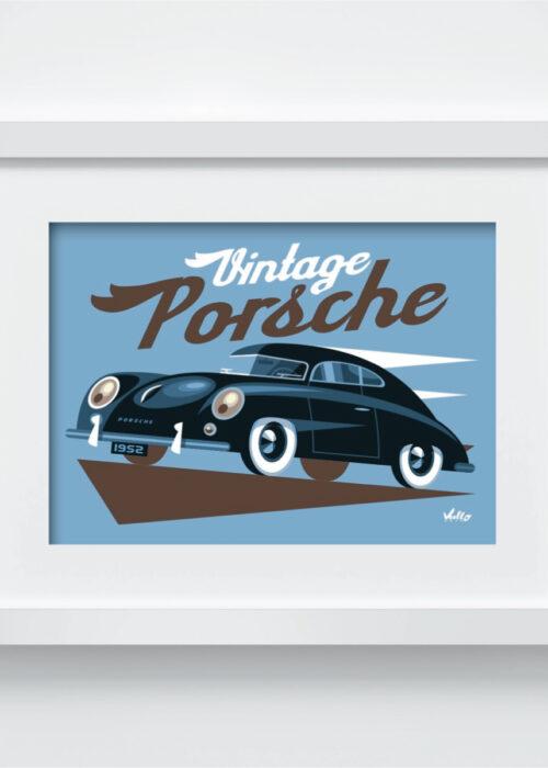 Carte postale Vintage Porsche avec cadre