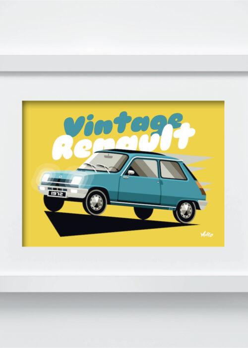 Carte postale Vintage R5 Bleue avec cadre