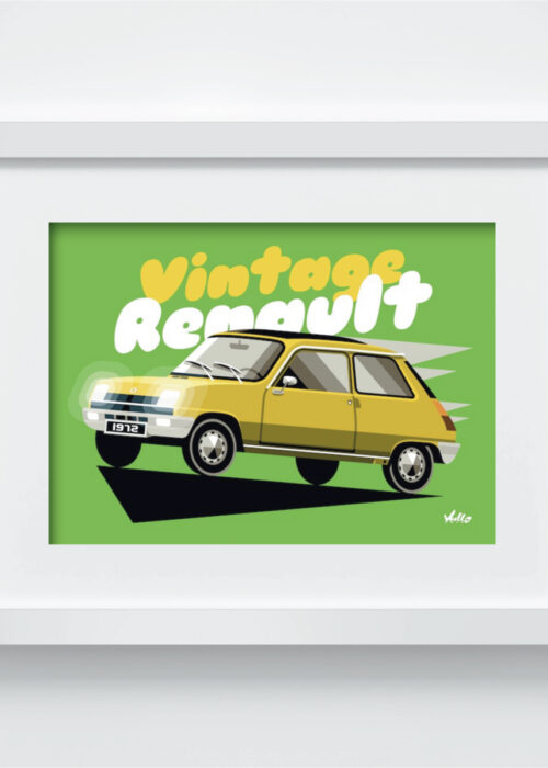 Carte postale Vintage R5 Jaune avec cadre