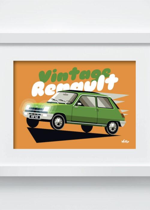Carte postale Vintage R5 Verte avec cadre