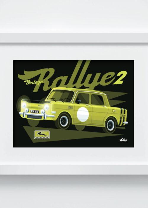 Carte postale Vintage Rallye 2 avec cadre