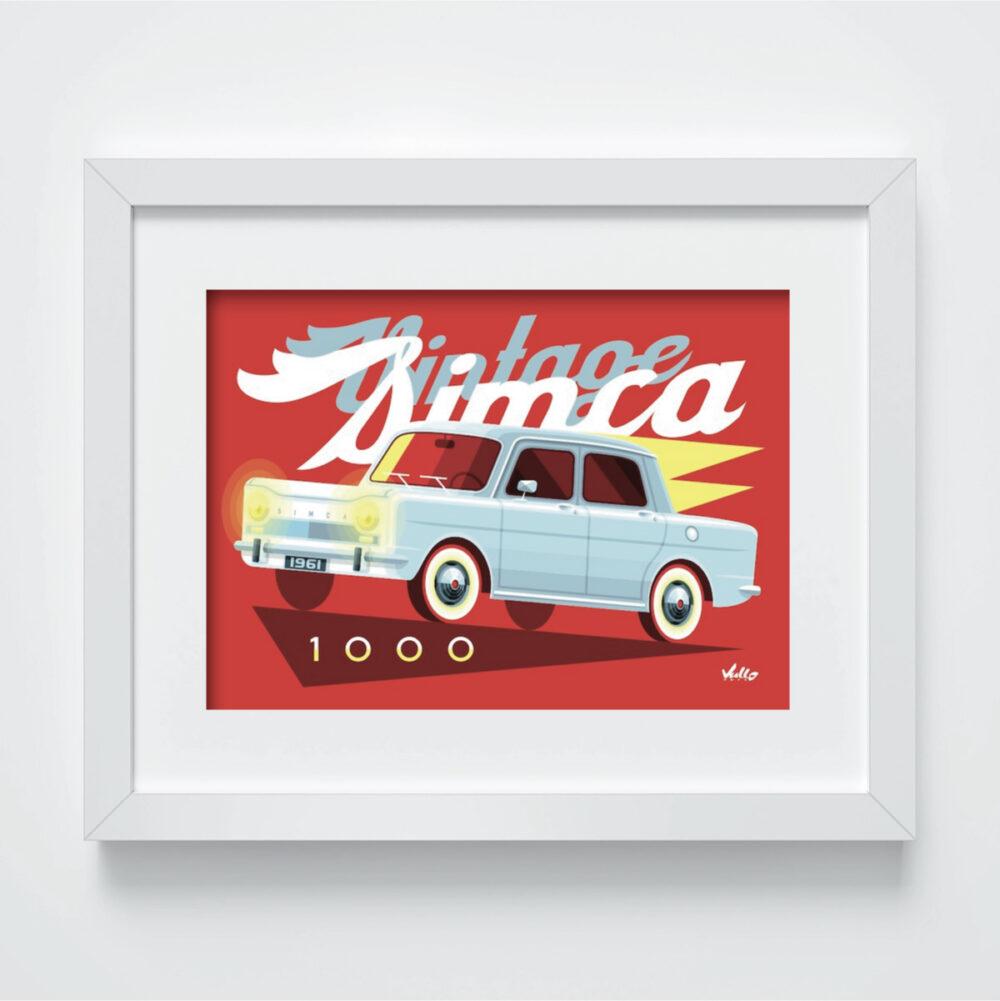 Carte postale Vintage Simca 1000 avec cadre