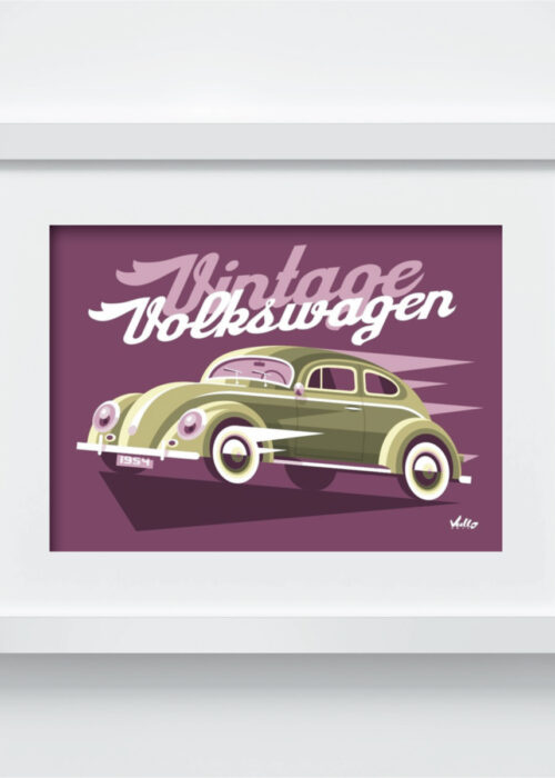 Carte postale Vintage Volkswagen avec cadre