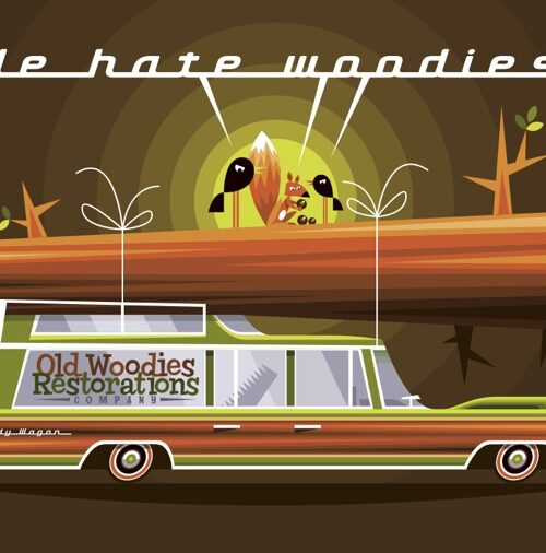 We Hate Woodies postcard