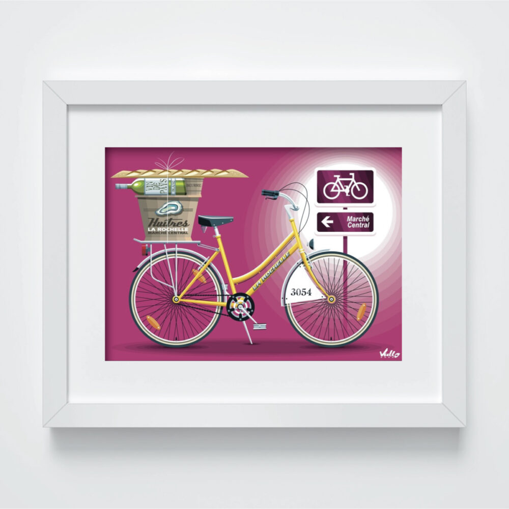 Carte postale Yellow Vélo avec cadre