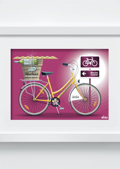 Yellow Vélo postcard with frame