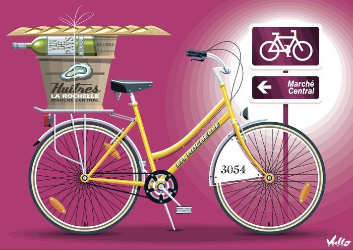 Carte postale Yellow Vélo