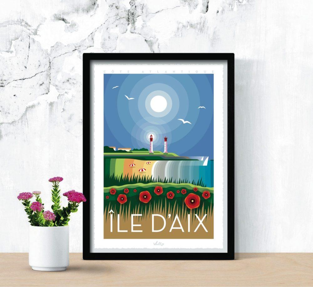 Affiche île d'Aix avec cadre